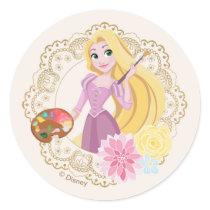 Princess Rapunzel   Floral Gold Confetti Classic Round Sticker