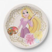 Princess Rapunzel   Floral Gold Confetti Paper Plate