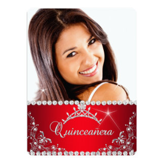 Princess Red Quinceanera Photo Silver Tiara Personalized Invitations
