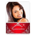 Princess Red Quinceanera Photo Silver Tiara 6.5x8.75 Paper Invitation Card