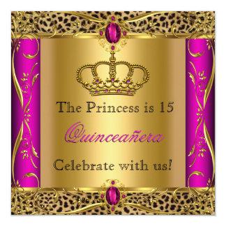 Princess Regal Pink Leopard Quinceañera Party 5.25x5.25 Square Paper Invitation Card