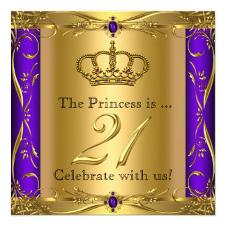 Princess Regal Purple Gold 21st Birthday Party Card