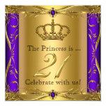 Princess Regal Purple Gold 21st Birthday Party 5.25x5.25 Square Paper Invitation Card