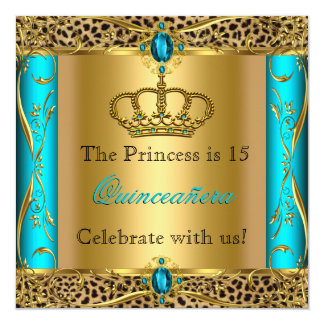 Princess Regal Teal Leopard Quinceañera Party Card