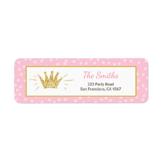 Princess Return Address Label Pink Gold Crown Girl