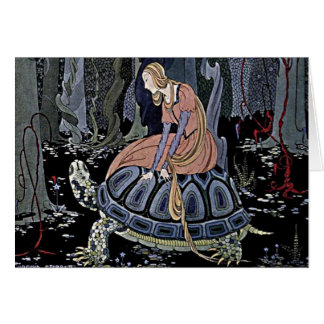 Princess Rides a Turtle Illustration Card