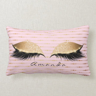 Princess Rose Gold Glitter Lashes Name Stripes Lumbar Pillow