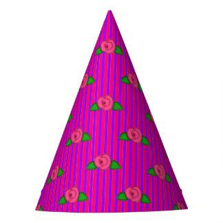 Princess Rosebud Stripes-2-PAPER PARTY HATS