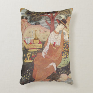 Princess sitting in a garden, Safavid Dynasty Accent Pillow