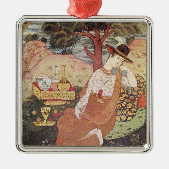 Princess sitting in a garden, Safavid Dynasty Metal Ornament