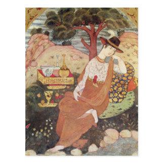 Princess sitting in a garden, Safavid Dynasty Post Cards