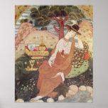 Princess sitting in a garden, Safavid Dynasty Poster
