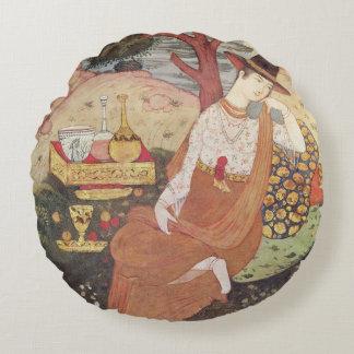 Princess sitting in a garden, Safavid Dynasty Round Pillow