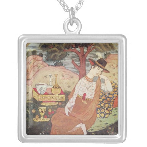 Princess sitting in a garden, Safavid Dynasty Square Pendant Necklace