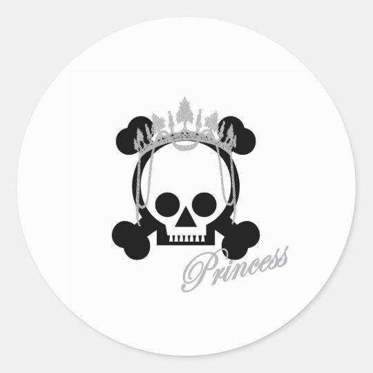 Princess Skull Classic Round Sticker
