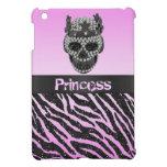 Princess Skull Diamonds Zebra Print iPad Mini Case