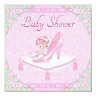 Princess Slipper, Baby and Roses Pink Baby Shower 5.25x5.25 Square Paper Invitation Card