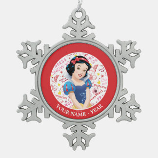 Princess Snow White | Crossing Arms Add Your Name Snowflake Pewter Christmas Ornament