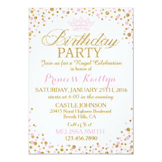 Princess Sparkle Pink and Gold Glitter Birthday Card