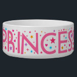 """Princess Stars and Hearts Pet food bowl<br><div class=""""desc"""">Pet food bowl for female dog or cat named Princess with stardust glitter,  pink letters and colorful little stars and hearts.</div>"""