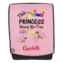 Princess Super Cute Autism Awareness Personalized Backpack