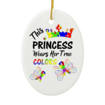 Princess Super Cute Autism Awareness Personalized Ceramic Ornament