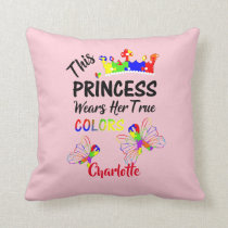 Princess Super Cute Autism Awareness Personalized Throw Pillow