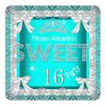 Princess Sweet 16 Glitter Teal Blue Birthday 2 Custom Invites