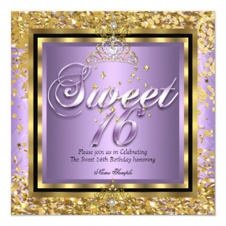 Princess Sweet 16 Gold Lilac Purple Party Card