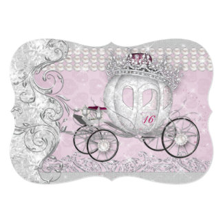 Princess Sweet 16 Quince Anos Bling Carriage Card