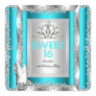 Princess Sweet 16 Teal Blue Aqua Silver Shoes 5.25x5.25 Square Paper Invitation Card
