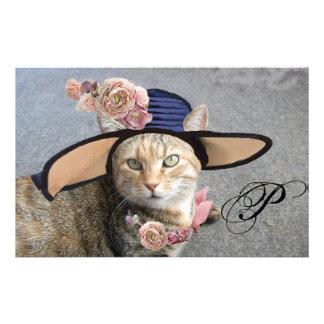 PRINCESS TATUS /ELEGANT CAT,BIG DIVA HAT AND ROSE STATIONERY