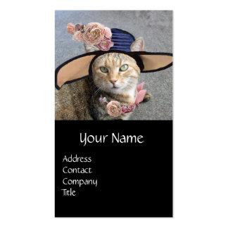 PRINCESS TATUS /ELEGANT CAT,BIG DIVA HAT AND ROSES BUSINESS CARD