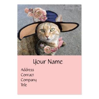 PRINCESS TATUS /ELEGANT CAT,BIG DIVA HAT AND ROSES LARGE BUSINESS CARD