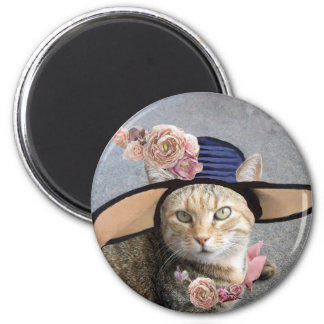 PRINCESS TATUS /ELEGANT CAT,BIG DIVA HAT AND ROSES MAGNET