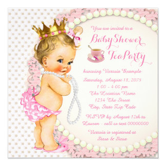 Princess Tea Party 5.25x5.25 Square Paper Invitation Card