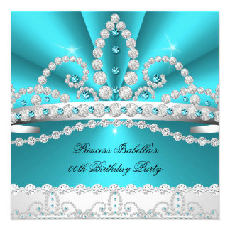 Princess Teal Blue Diamond Tiara Birthday Party 2 5.25x5.25 Square Paper Invitation Card