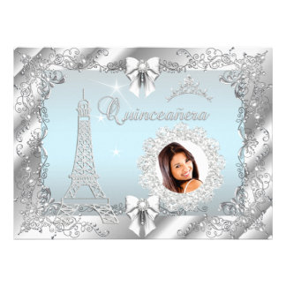 Princess Teal Blue Quinceanera Silver Photo BIG Invites