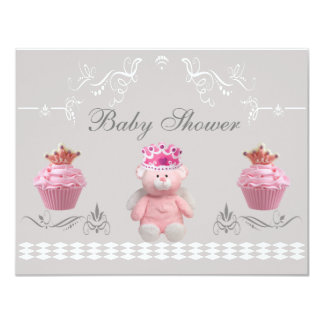 Princess Teddy & Pink Cupcakes Baby Shower 4.25x5.5 Paper Invitation Card