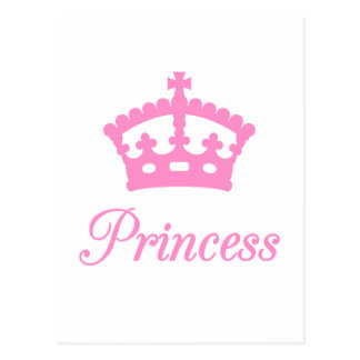 Princess text design with pink crown for baby postcard