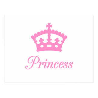 Princess text design with pink crown for baby post cards