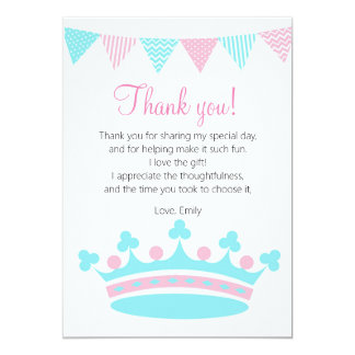 Princess Thank You Card Pink Turquoise