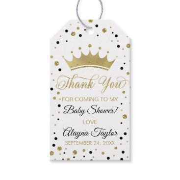 Princess Thank You Tag, Black, Faux Glitter Gift Tags