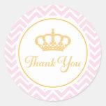 Princess Thank You Tag Classic Round Sticker