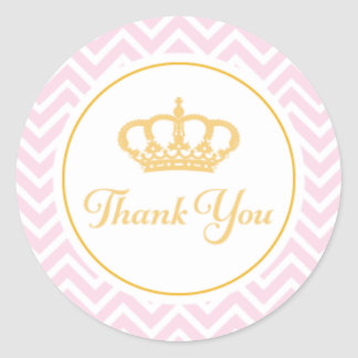 Princess Thank You Tag Classic Round Sticker