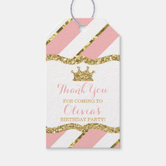 Princess Thank You Tag, Pink, Gold Glitter, Crown Gift Tags