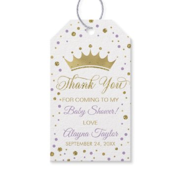 Princess Thank You Tag, Purple, Faux Glitter Gift Tags