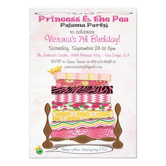 Pea Pajama Birthday Party Invitation