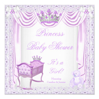 Princess Tiara Baby Shower Lilac Cradle Satin Lace Card