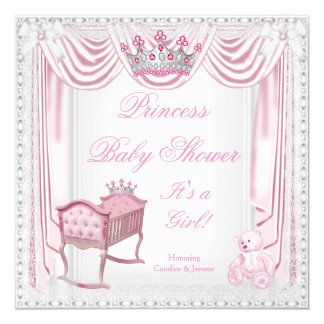 Princess Tiara Baby Shower Pink Cradle Satin Lace Card